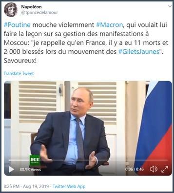 Tweet tprincedelamour Poutine mouche violemment Macron qui voulait lui faire la leçon sur sa gestion des manifestations à Moscou