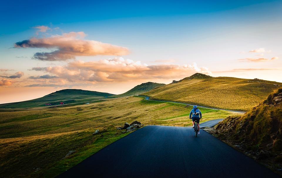 Man biking in Romania