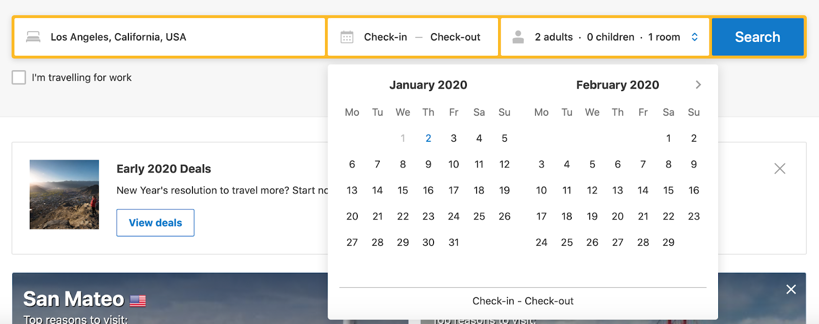 Booking.com avoids unnecessary errors by disabling past dates in their calendar drop-down so that users can't select them.