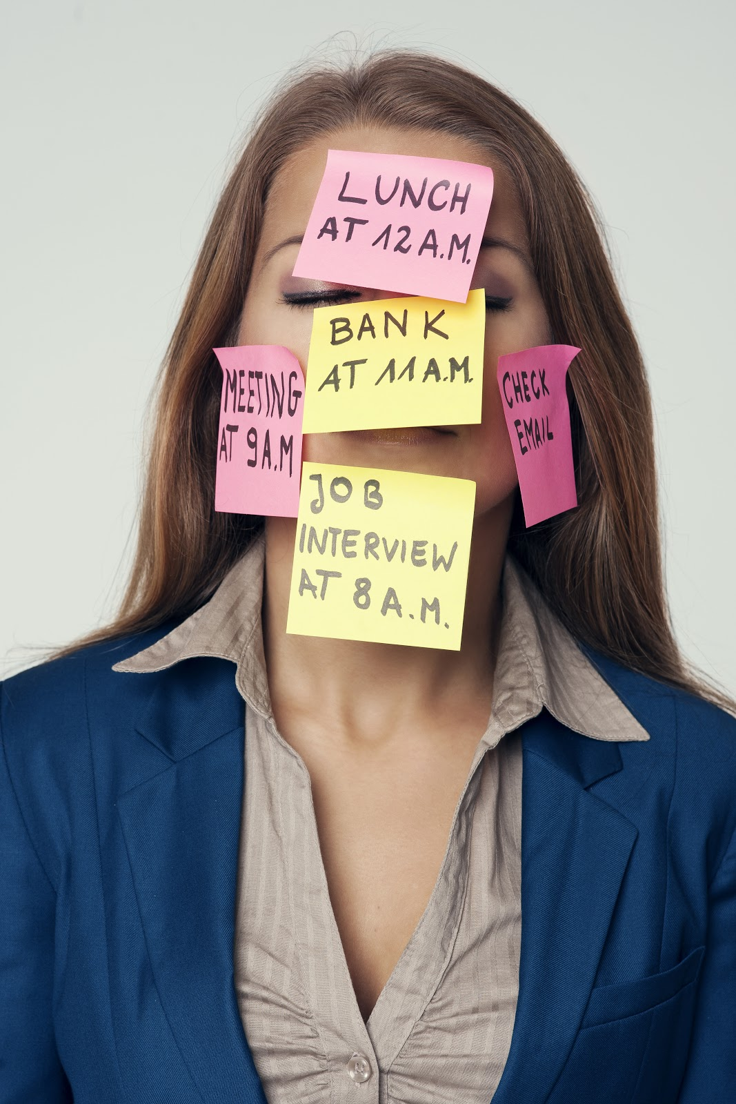 Women with tasks sticky notes in the face