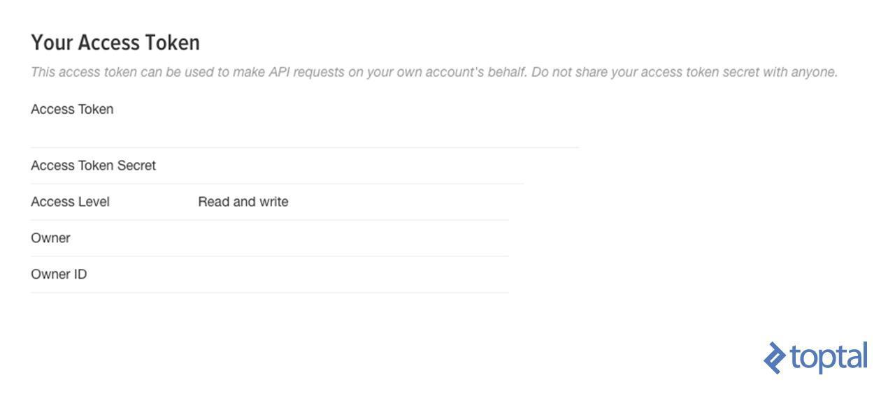 Captura de pantalla: Instalación de identificadores de acceso de la aplicación Twiiter