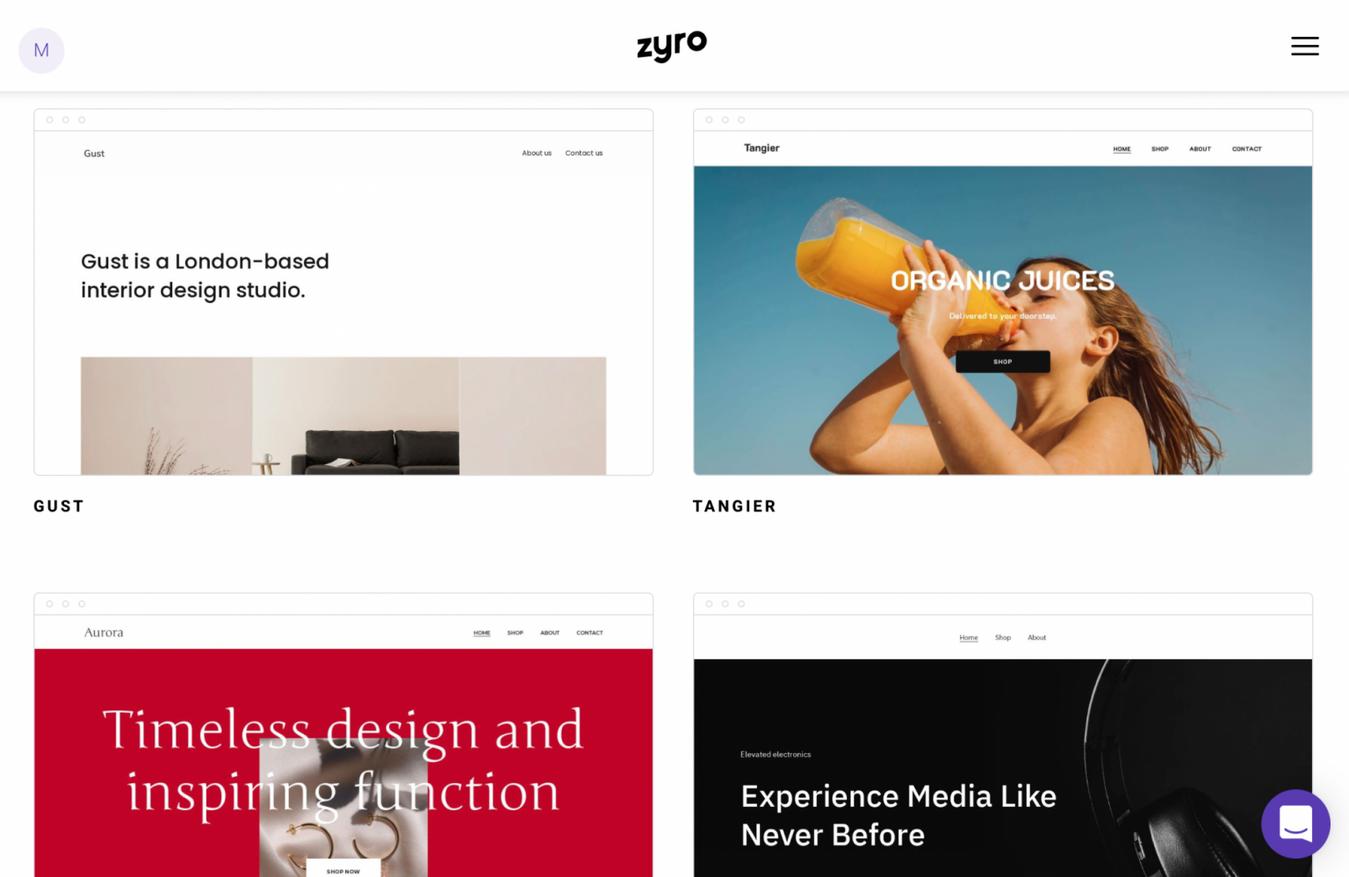 Zyro templates in dashboard