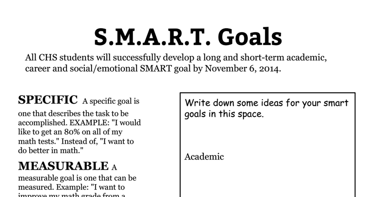 SMART Goals Worksheet 20142015pdf Google Drive – Smart Goals Worksheet