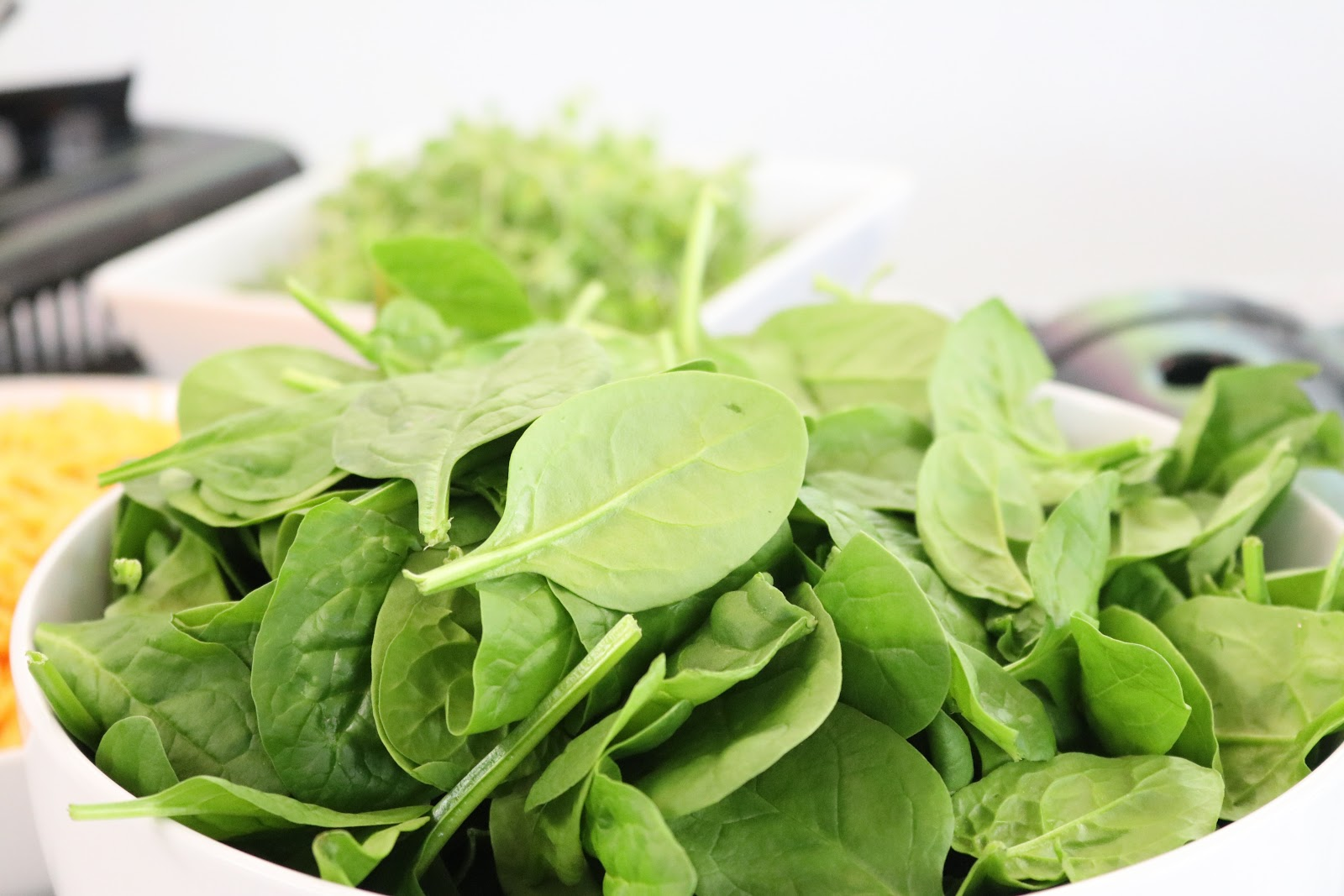 A plate full of spinach. Spinach is good for eyesight