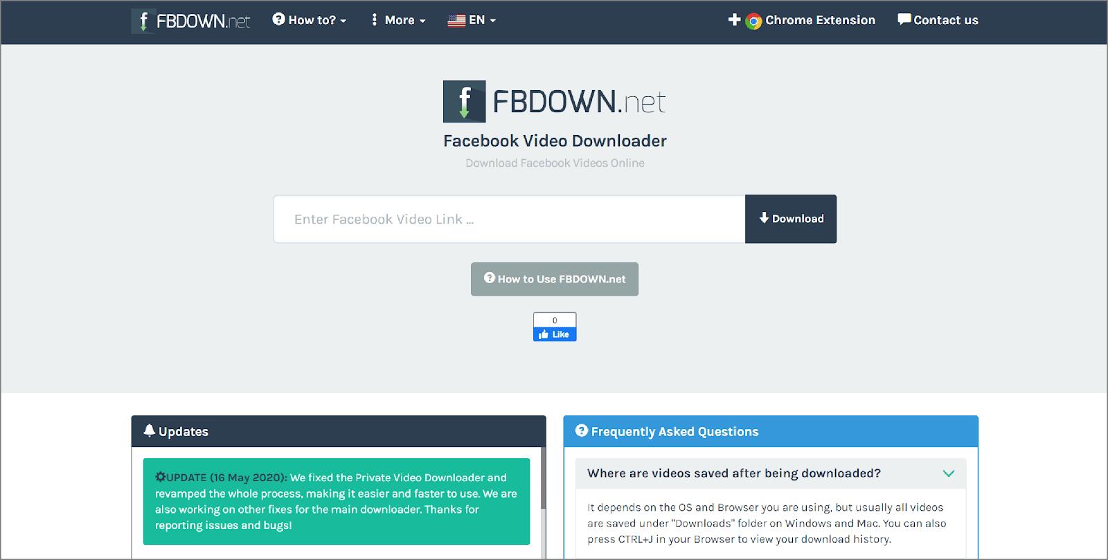 fbdown for Downloading Facebook Videos.