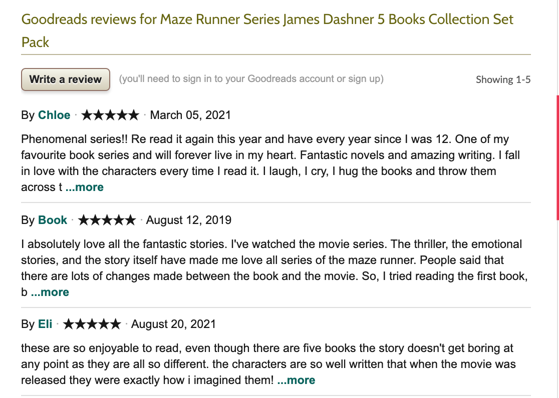 Goodreads.com review page