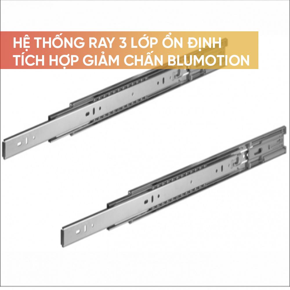 Hệ thống ray trượt 3 lớp ổn định, giảm chấn Blumotion được tích hợp sẵn trong ray