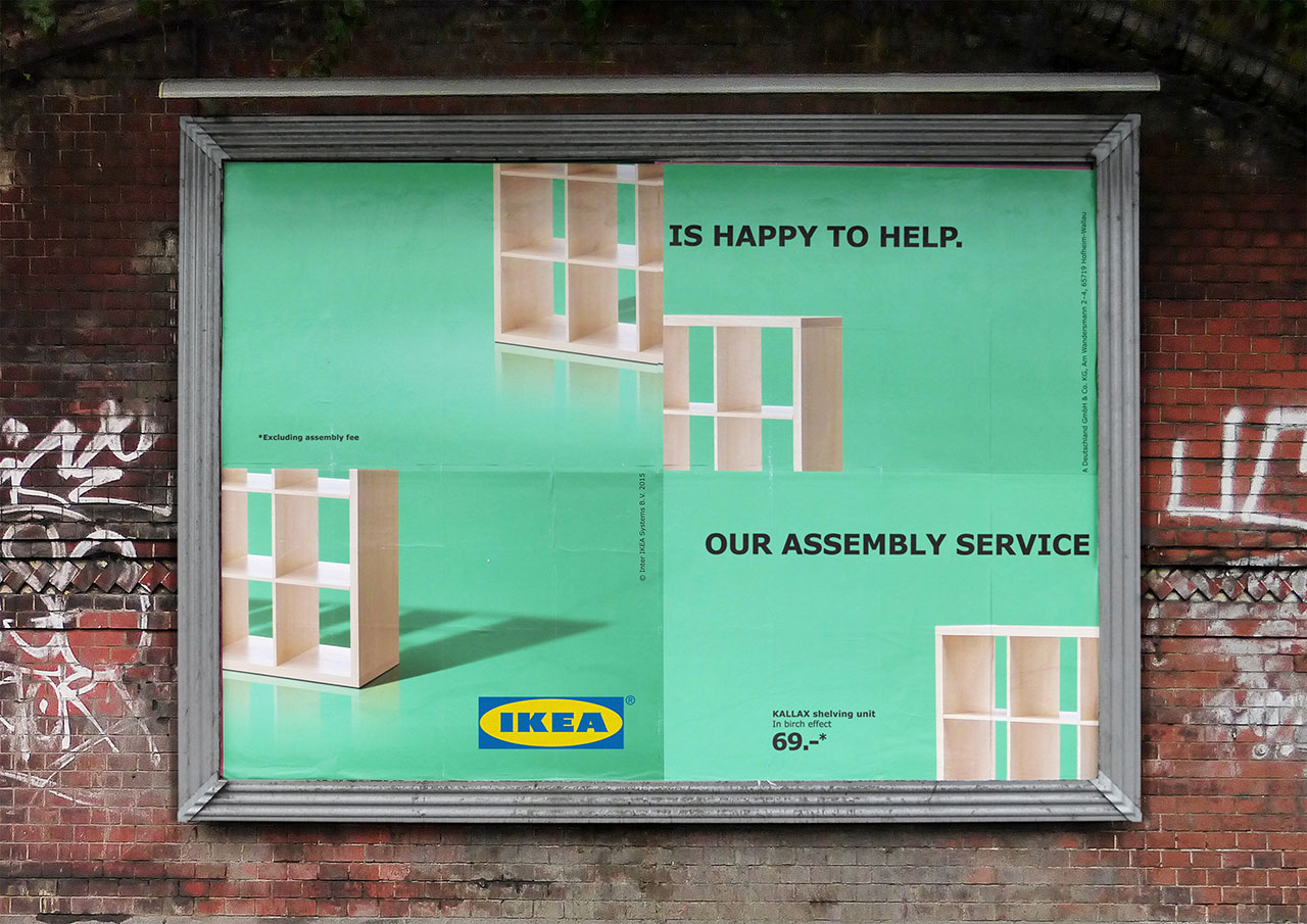 Ikea used a classic poster style to poke fun at themselves while advertising their assembly service with outdoor advertising.