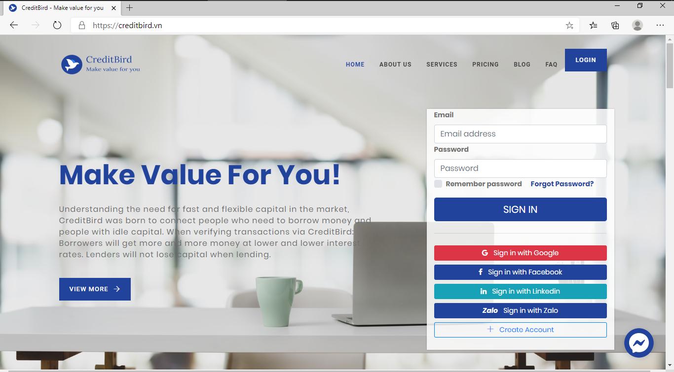 creditbird.vn webapp cho vay tiền góp đứng