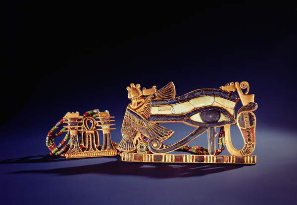 Image of Djed pillar pectoral and wedjet eye pectoral, from the Tomb of Tutankhamun (c.1370-1352 BC) New Kingdom (gold cloisonne with glass paste), Egyptian 18th Dynasty (c.1567-1320 BC) / Egyptian, Egyptian National Museum, Cairo, Egypt, found on the mummy of the pharaoh; symbol of the entity of the body; uraeus wearing royal crown of the North; Photo © Boltin Picture Library / Bridgeman Images
