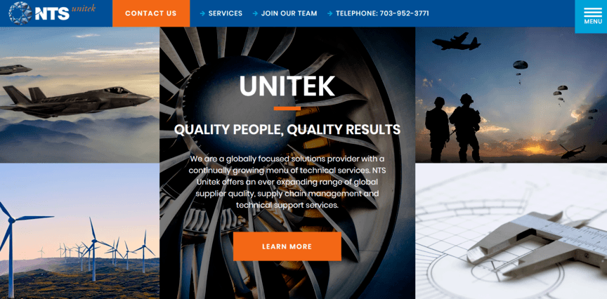 Home page example for a manufacturing website.