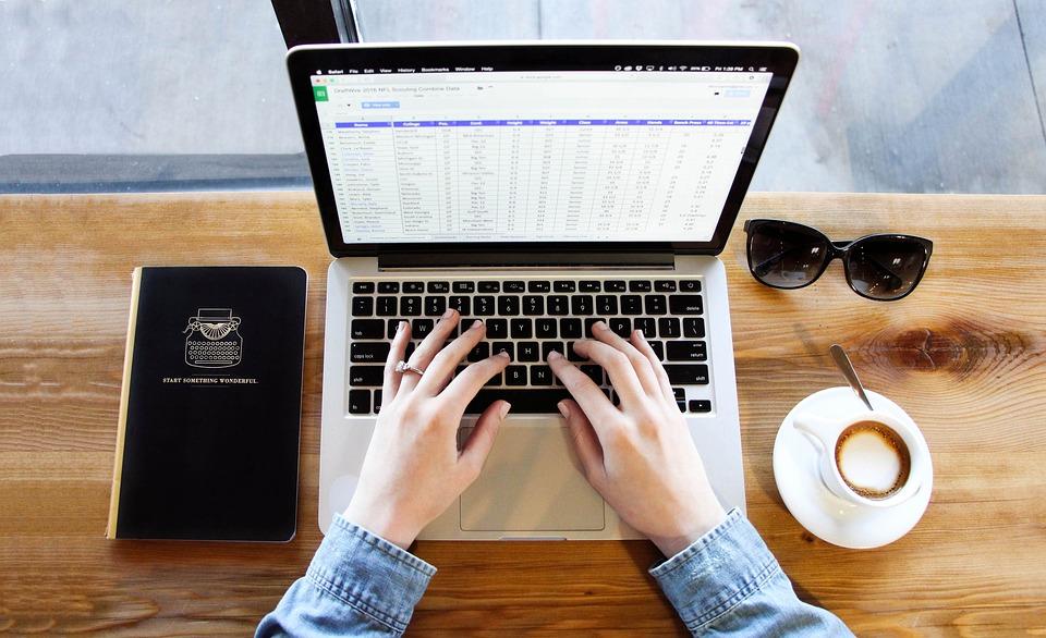 ノートブック, 入力, コーヒー, コンピュータ, 手, ラップトップ, Macbook