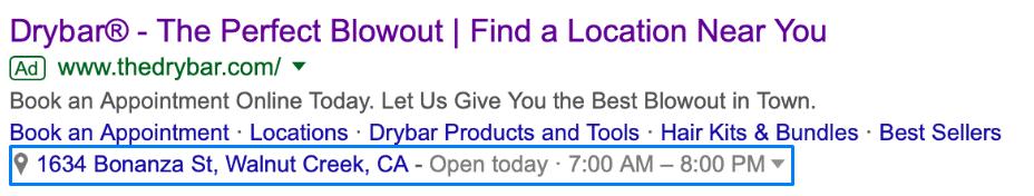 Extensão de local - google ads