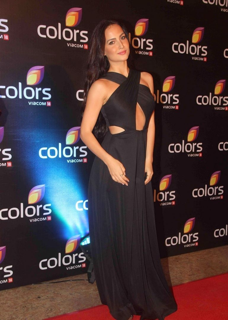 Elli Avram in sexy , racy black gown