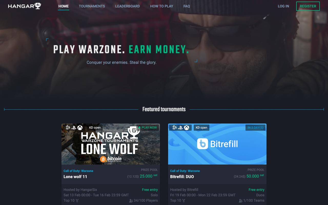 Captura de tela do site onde você encontra torneios de Warzone para ganhar bitcoin
