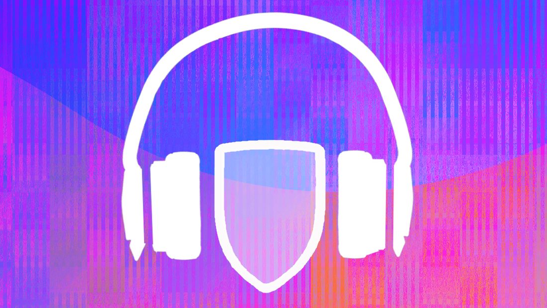 An image of a shield with headphones around it, on a pink and purple background