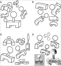 immagine con numerose figure geometriche riprese da punti di vista diversi, esemplificativa del principio di invarianza della psicologia della gestalt