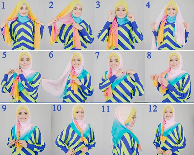 jilbab two tone tutorial