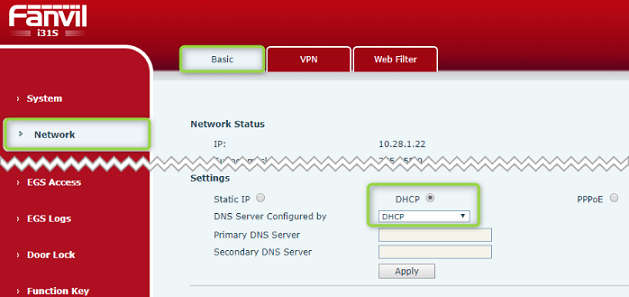 Set network setting to DHCP for Fanvil iW30 Speaker and PA2 devices