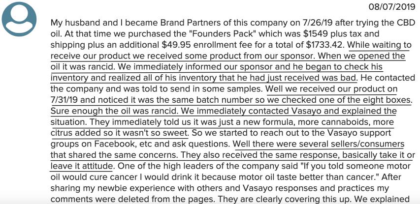 Distributors received rancid Vasayo products