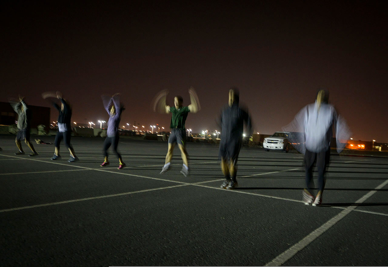 People working out at night