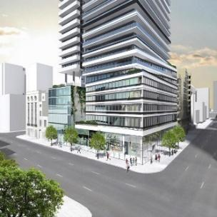 Looking northeast towards 89 Church, designed by architectsAlliance for the Cityzen Real Estate Group