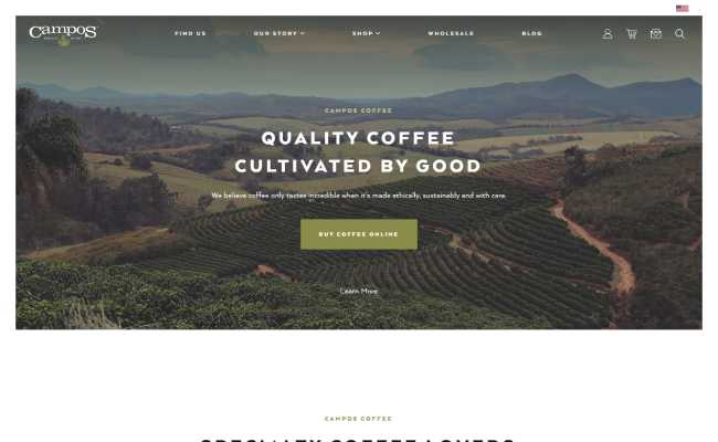 website strategy example 8 - Campos Coffee