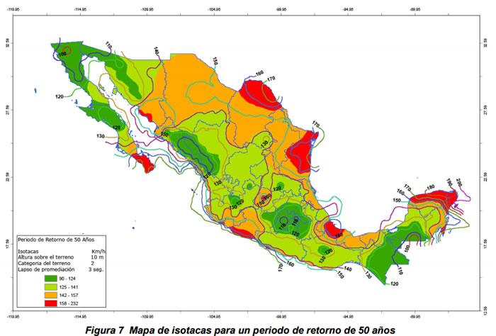 Mapa de isotacas para un periodo de retorno de 50 años