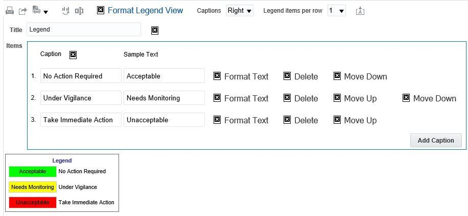 how to add legend in excel captions