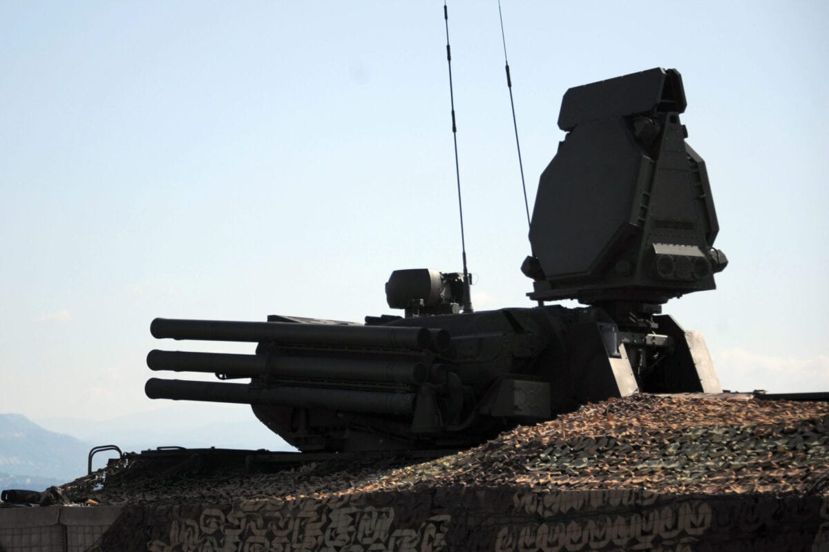 A Russian surface-to-air missile systems Pantsir S-1 is pictured at the Russian military base of Hmeimim, located south-east of the city of Latakia in Hmeimim, Latakia Governorate, Syria, on September 26, 2019. - With military backing from Russia, President Bashar al-Assad's forces have retaken large parts of Syria from rebels and jihadists since 2015, and now control around 60 percent of the country. Russia often refers to troops it deployed in Syria as military advisers even though its forces and warplanes are also directly involved in battles against jihadists and other rebels (Photo by Maxime POPOV / AFP) (Photo credit should read MAXIME POPOV/AFP via Getty Images)