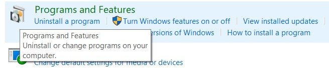 Select Programs and then click on Programs and Features.