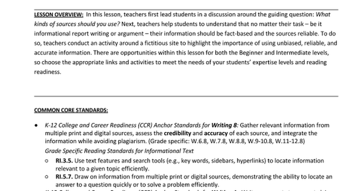 Beginner Intermediate 5 Evaluating credibility of sources – Evaluating Sources Worksheet