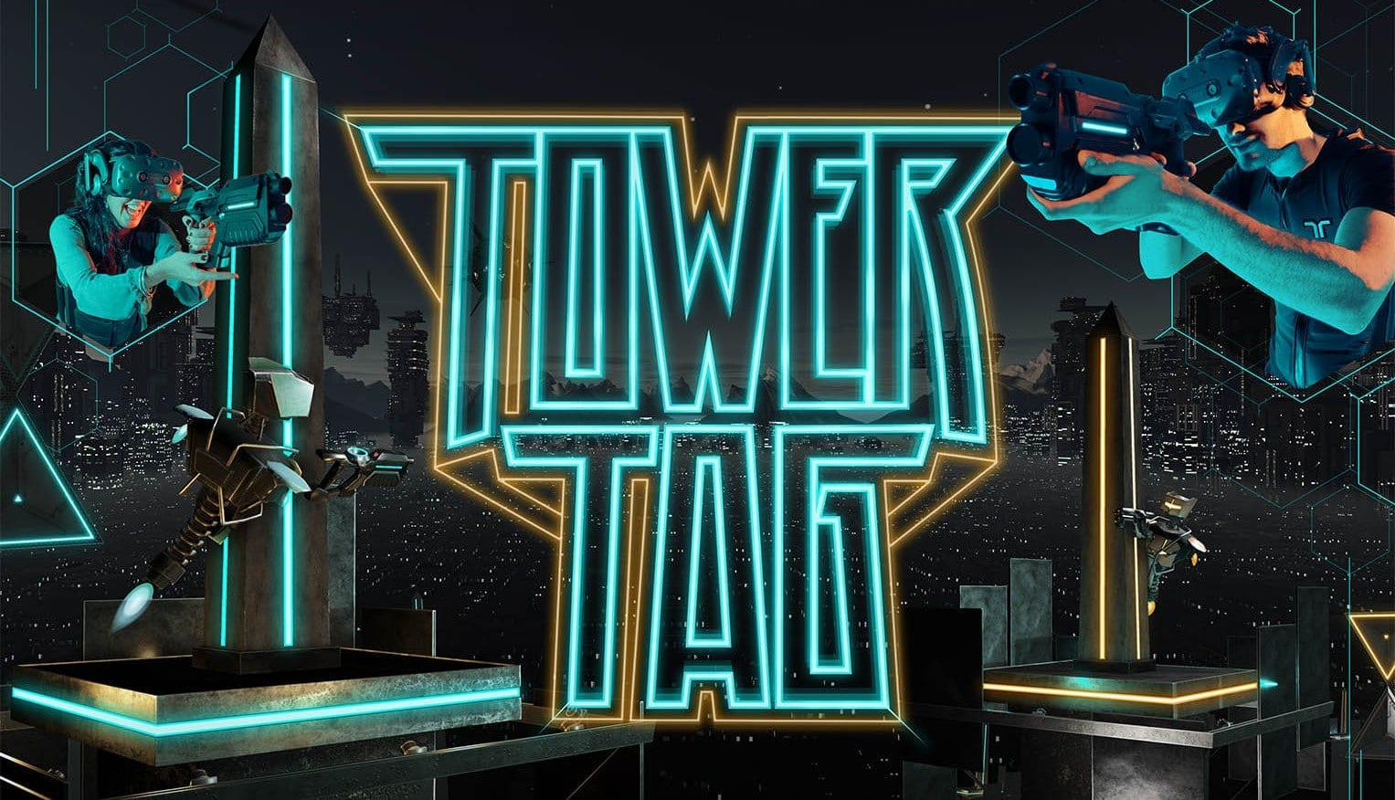 Tower Tag is a dynamic sci-fi platform shooter where  players strategically move around the map by controlling platforms and moving between them to gain advantages over their opponents. Each platform has a central tower that can be used for cover from incoming fire. Controlling platforms is the key to being able to outmaneuver and outgun your enemies! Don't rely on just being a good shot!
