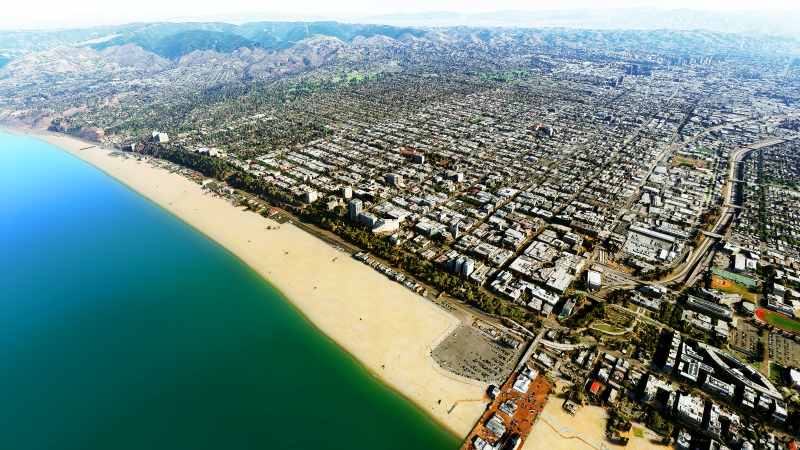 aerial view of Santa Monica, CA