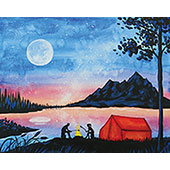 canvas painting design - Camping at the Lake