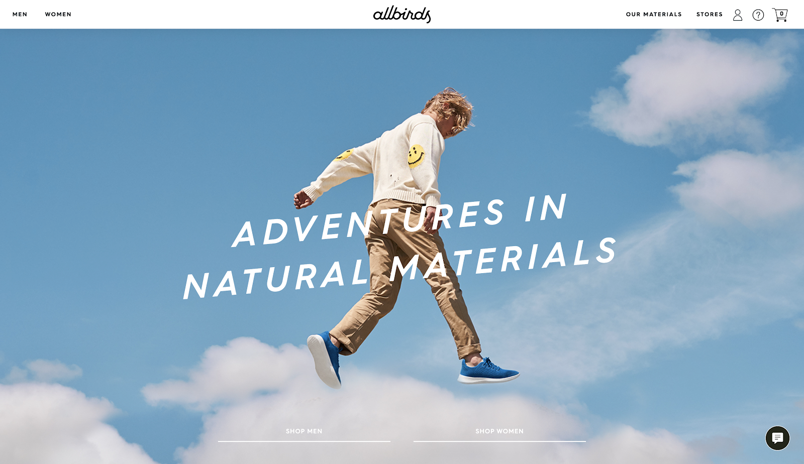 A product image for Allbirds shoes depicts a man walking on clouds.