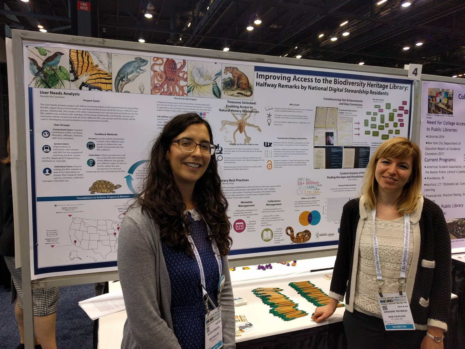 Alicia Esquivel of the Chicago Botanic Garden and Ariadne Rehbein of the Missouri Botanical Garden presenting the BHL NDSR Residents_ _Halfway Remarks_ poster at the 2017 ALA Annual Conference.