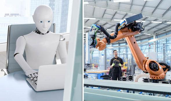 Artificial intelligence: Robot working at a desk