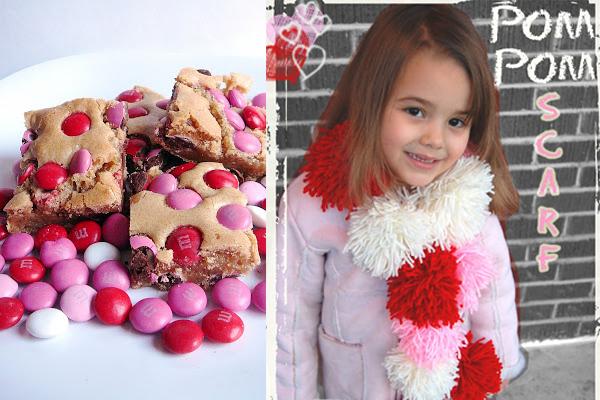 Valentine's Day Blondies and Pom-Pom Scarf