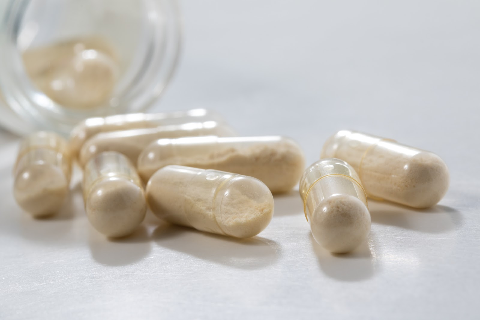 Probiotics capsules on a counter