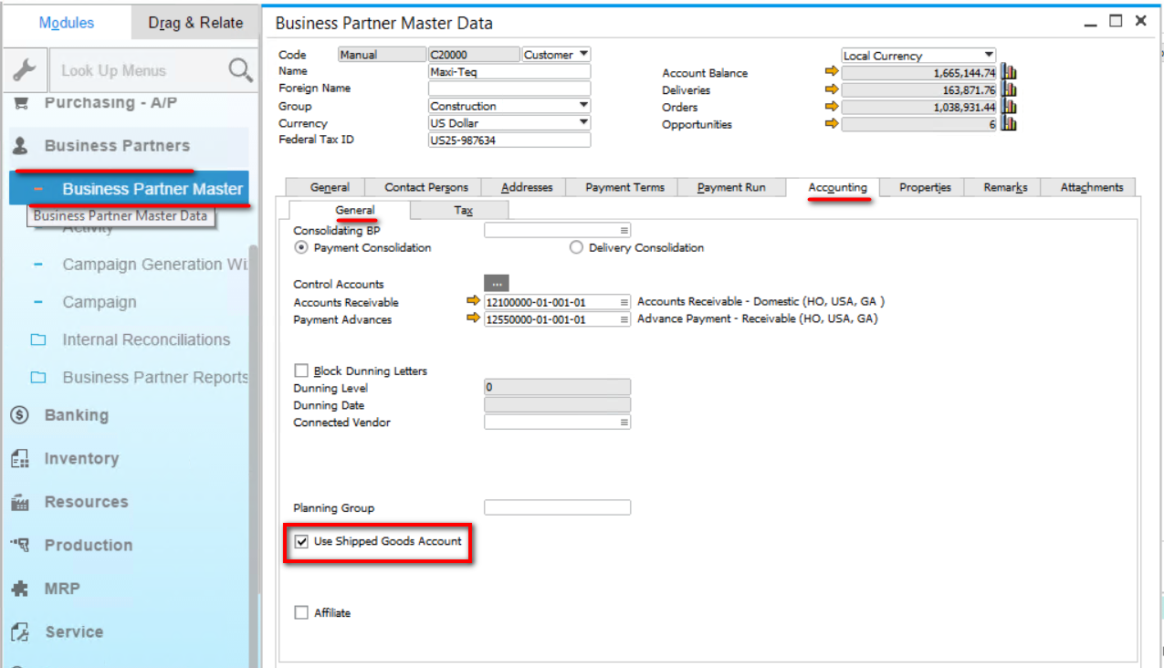 Use Shipped Goods Account for Customer Business Partner Master Data
