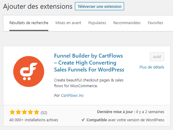Installation CartFlows sur WordPress