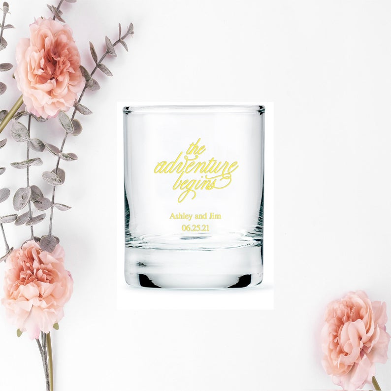 Personalised shot glasses for wedding guests