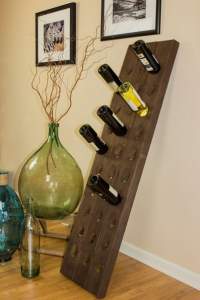 riddling rack wine bottles
