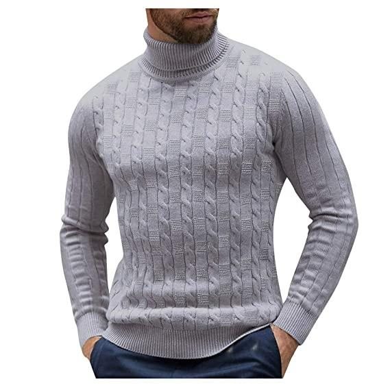 Rosatro Mens Solid High Neck Jumper Winter Warm Knitted Turtleneck Pullover  Casual Sweater Tops(Gray,M): Amazon.in: Clothing & Accessories
