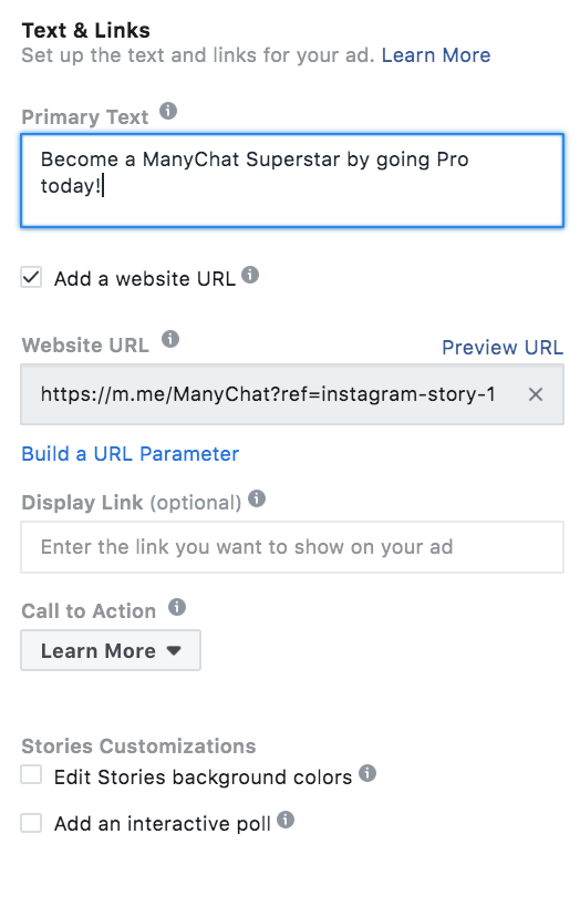 Setting up Instagram Story ad with ManyChat