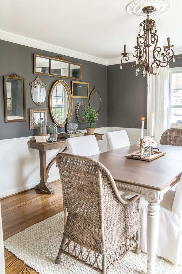 Brighten Up Dining Room Wall with Mirrors