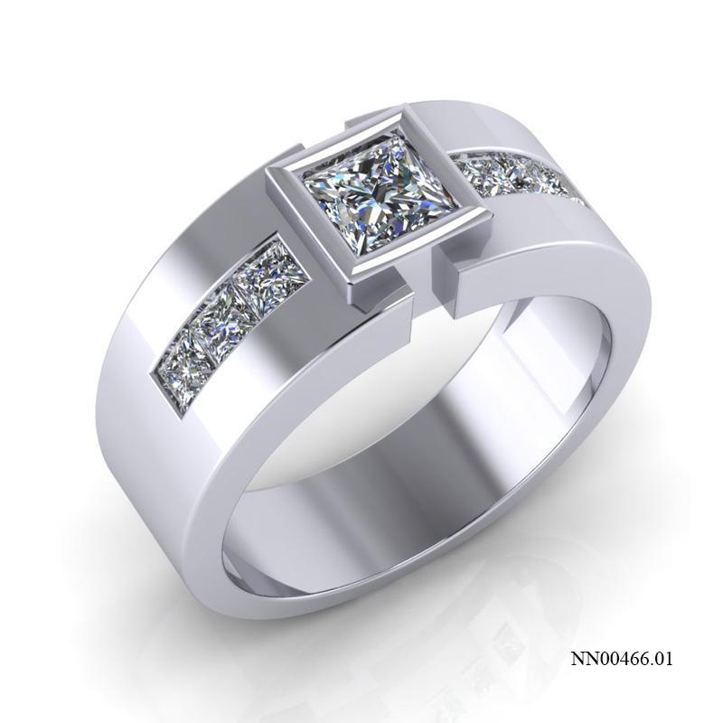 nhẫn nam vàng trắng đính đá