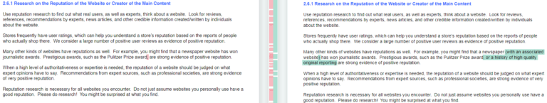 Resumen de cambios realizados en la actualización de las directrices para Quality Raters 4
