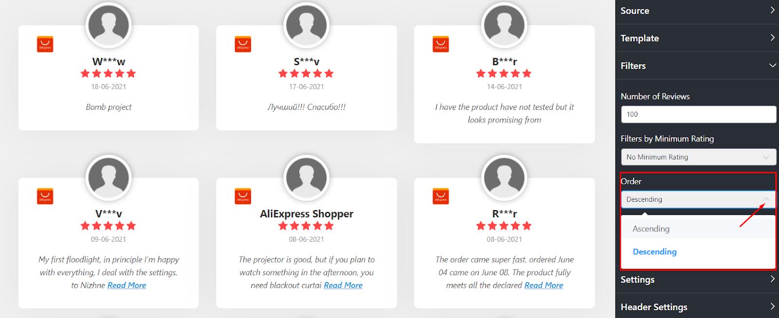 AliExpress reviews order